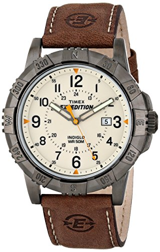 Timex Men's Expedition Rugged Metal Brown/Natural Leather Strap Watch