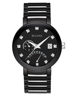 Bulova Men's Diamond-Accented Black Stainless Steel Watch