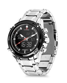 Business Mens Analog Digital Watch, Quartz Dual Time Zone Electronic