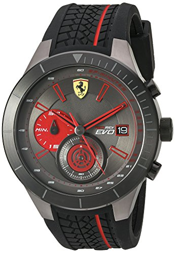 Ferrari Men's Quartz Stainless Steel and Silicone Watch, Color:Black