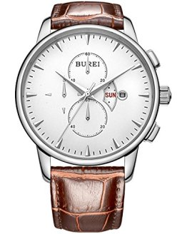 BUREI Men's Chronograph Wirst Watches Stainless Steel Multifunction
