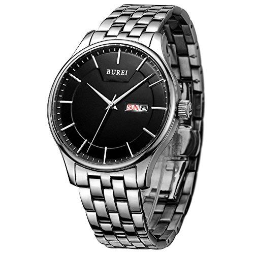 BUREI Men Simple Quartz Watch Black Analog Dial