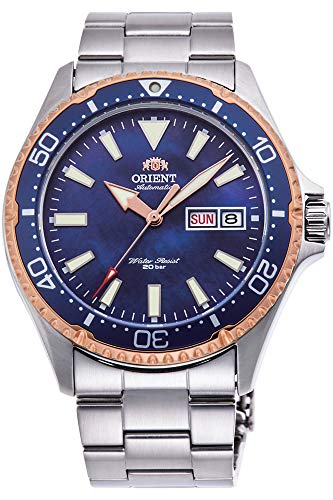 Orient Ray Mechanical Sports 200M Rose Gold Coral Blue Dial Watch