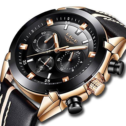 LIGE Watches for Men Sports Chronograph Waterproof Analog Quartz