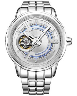 BUREI Men's Stainless Steel Automatic Watch with Silver Bracelet
