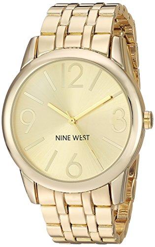 Nine West Women's Champagne Dial Gold-Tone Bracelet Watch