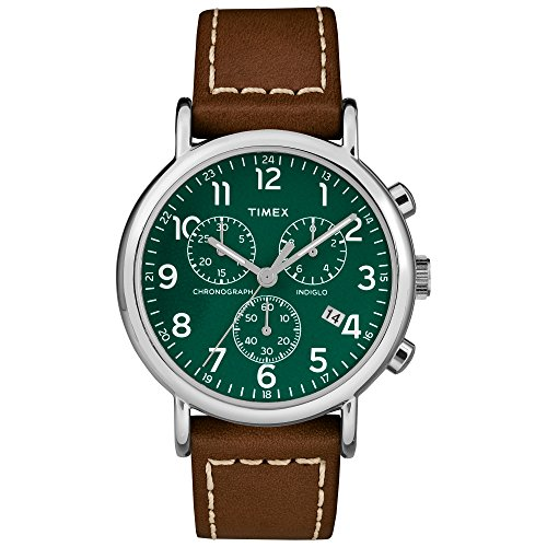 Timex Men's Weekender Chrono Brown/Green Two-Piece Leather Strap Watch
