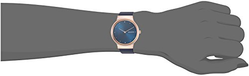 Skagen Women's Quartz Stainless Steel and Leather Casual Watch, Color:Blue This 34mm Freja highlights a roundabout brushed dial with three-dimensional crystal records and two-hand development. It is done with a 16mm calfskin tie.