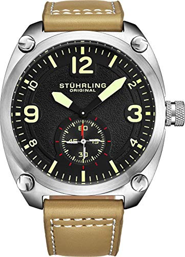 Stuhrling Original Men's Quartz Stainless Steel and Leather Casual Watch