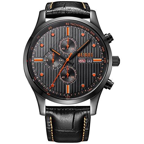 BUREI Men's Day Date Multifunction Chronograph Wrist Watches