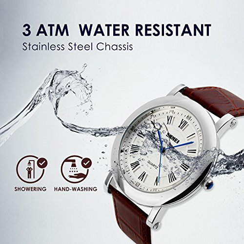 Men's Analog Quartz Watch Waterproof Business Casual Wrist Watch Dress Design Men's Analog Quartz Watch Waterproof Business Casual Wrist Watch Dress Design with Comfortable Unique Leather Band Water Resistant Roman Numeral - Silver