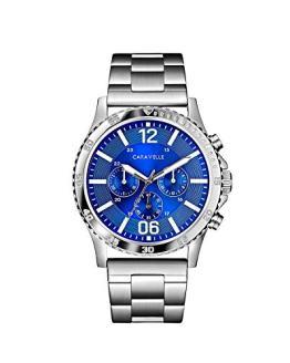 Caravelle Men's Quartz Stainless Steel Watch, Color:Silver-Toned