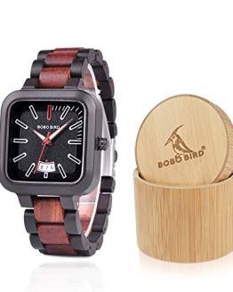 BOBO BIRD Mens Wooden Watches Lightweight Casual Sport Wristwatches