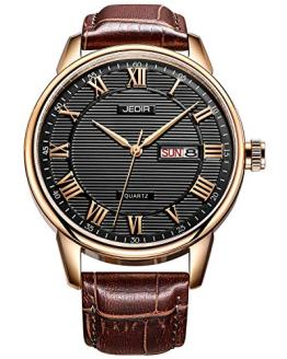 BUREI Men's Classic Quartz Wristwatch with Day Date Calendar