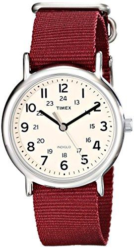 Timex Unisex T2P235 Weekender Maroon Nylon Slip-Thru Strap Watch
