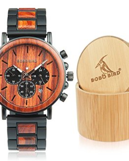 BOBO BIRD Men's Casual Wrist Watch, Wood & Stainless Steel Watch