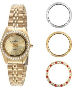 Peugeot Women's Gold-Tone Bracelet Watch with Four Bezel Covers