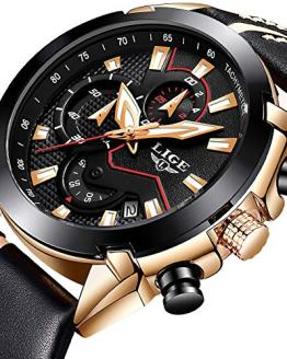Watches for Men,LIGE Chronograph Waterproof Military Watch