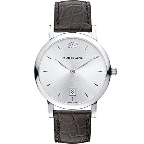 Montblanc Star Classique Date Stainless Steel Brown Leather Mens Watch