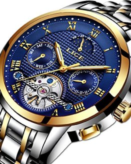 Watches for Men,LIGE Stainless Steel Automatic Mechanical Watch