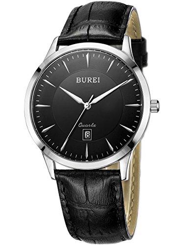 BUREI Mens Simple Dress Quartz Watches