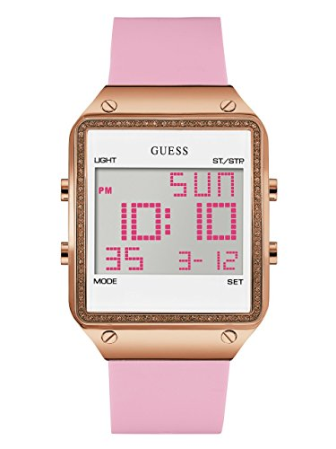 GUESS Women's Digital Silicone Watch, Color: Pink
