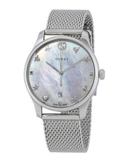 Gucci G-Timeless Mother of Pearl Dial Ladies Mesh Watch