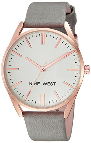 Nine West Women's Rose Gold-Tone and Grey Strap Watch