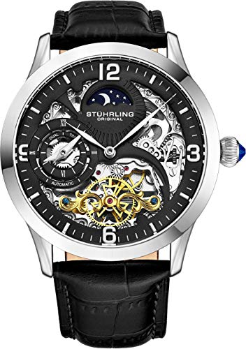 Stührling Original Automatic Watch for Men Skeleton Watch Dial, Dual Time