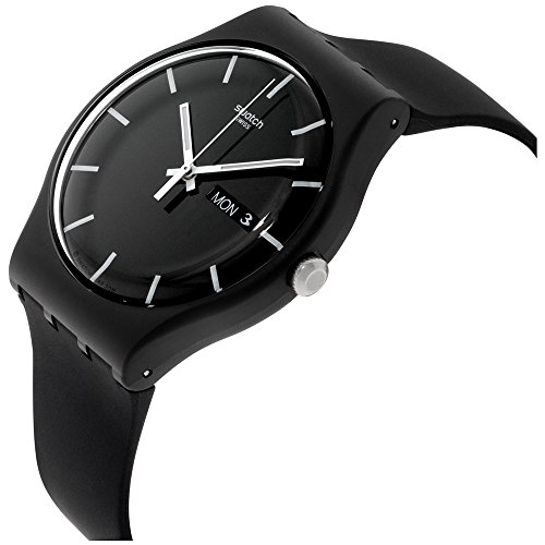 Swatch ' Mono Black' Quartz Plastic and Silicone Casual Watch, Color:Black