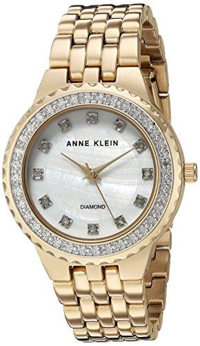 Anne Klein Women's Diamond-Accented Gold-Tone Bracelet Watch
