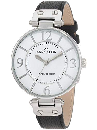 Anne Klein Women's Silver-Tone and Black Leather Strap Watch