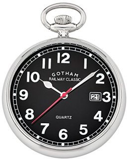 Gotham Men's Silver-Tone Analog Quartz Date Railroad Pocket Watch