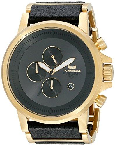 Vestal Unisex Plexi Leather Analog Display Quartz Gold Watch