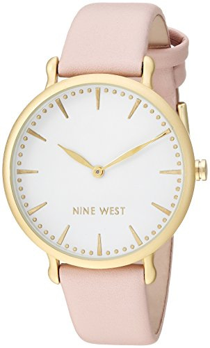 Nine West Women's Gold-Tone and Light Pink Strap Watch