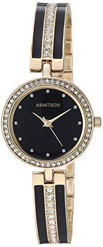 Armitron Women's Swarovski Crystal Accented Gold-Tone and Black Bangle Watch