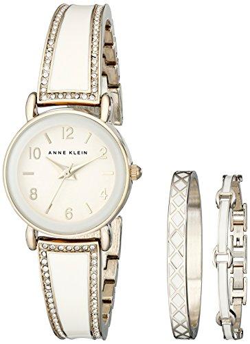 Anne Klein Women's Swarovski Crystal Stainless Steel Watch Set