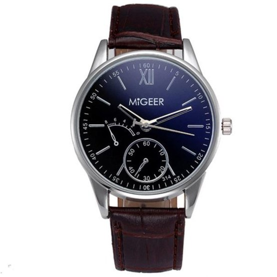 MIGEER man watch brand Luxury Fashion Faux Leather Mens Analog