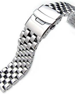 Polished Engineer Solid Link Stainless Steel Watch Bracelet Band