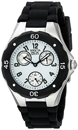 Invicta Women's Angel Stainless Steel Watch With Black Silicone Band