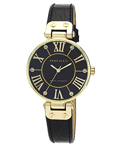 Anne Klein Women's Gold-Tone Black Mother-Of-Pearl Dial Leather Dress Watch