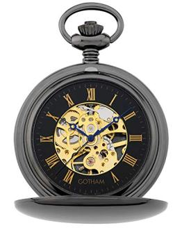 Gotham Men's Silver-Jewel Mechanical Double Hunter Pocket Watch