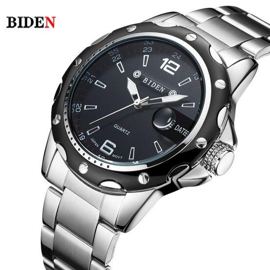 BIDEN Brand Full Stainless Steel Business watch men
