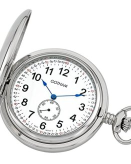 Gotham Men's Silver-Tone Double Hunter Deluxe Pocket Watch