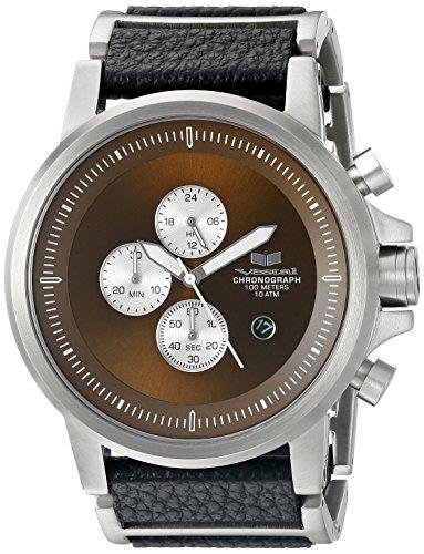 Vestal Unisex Plexi Leather Analog Display Quartz Silver Watch
