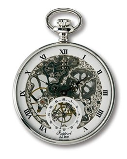 Oxford Skeletonized Open Face Pocket Watch with Sub-Seconds - Silver