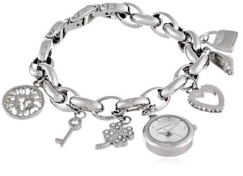 Anne Klein Women's Swarovski Crystal Silver-Tone Charm Bracelet Watch