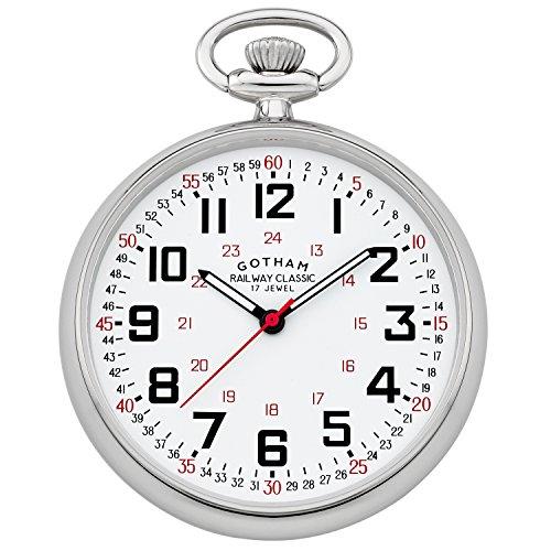 Gotham Men's Silver-Tone Mechanical Pocket Watch