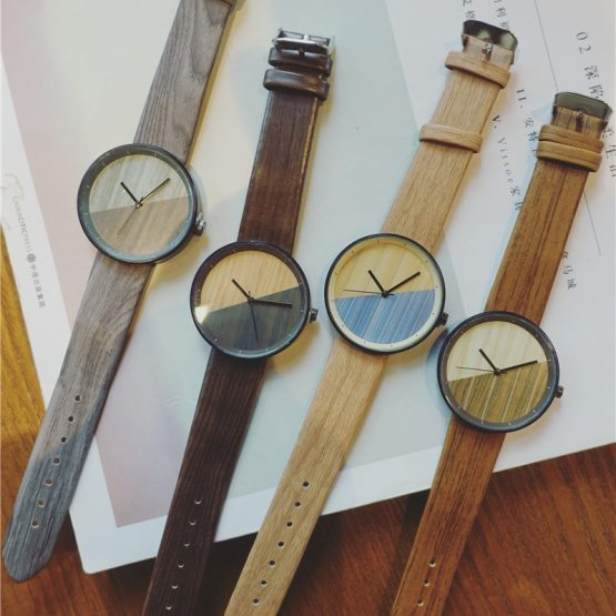 New Stitching design Wood grain watches Simple wooden vintage female clock