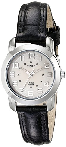 TIMEX Women's Silver-Tone Watch with Black Leather Band